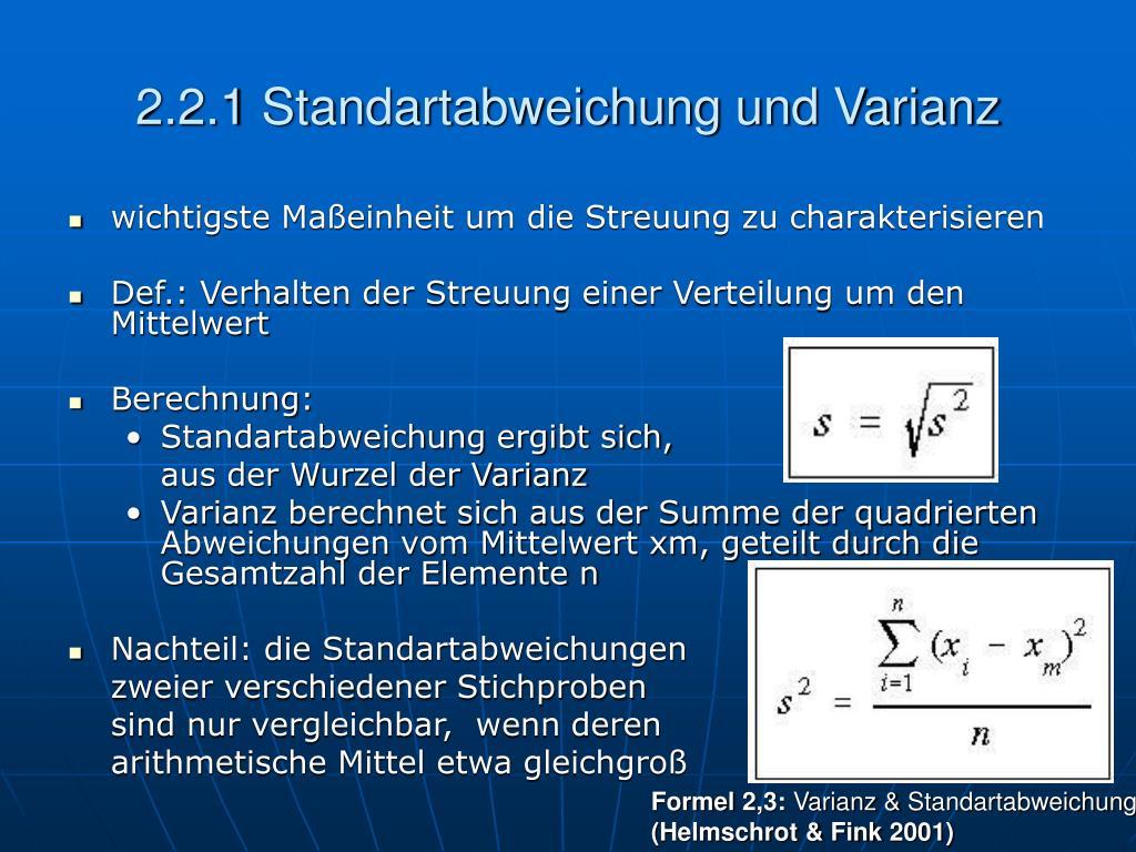 2.2.1 Standartabweichung und Varianz