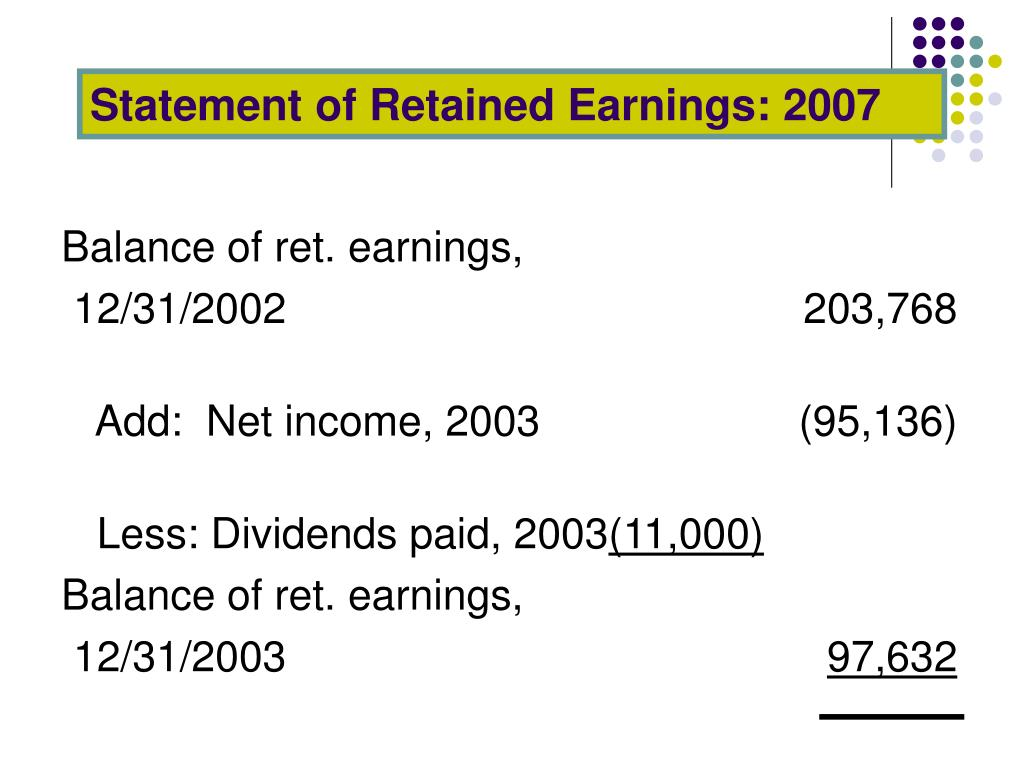 Statement of Retained Earnings: 2007