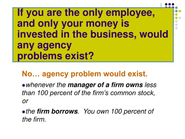 If you are the only employee, and only your money is invested in the business, would any agency