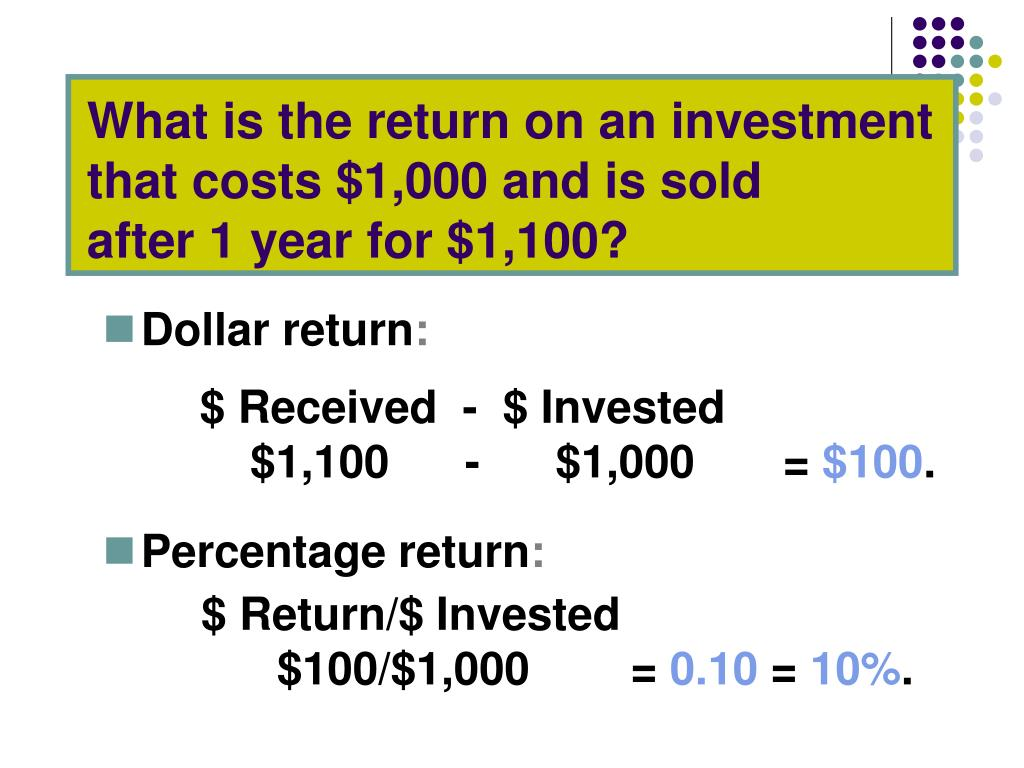 What is the return on an investment that costs $1,000 and is sold