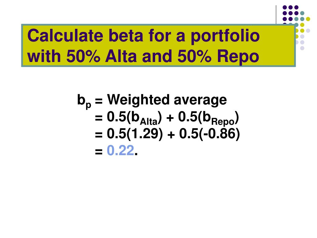 Calculate beta for a portfolio with 50% Alta and 50% Repo