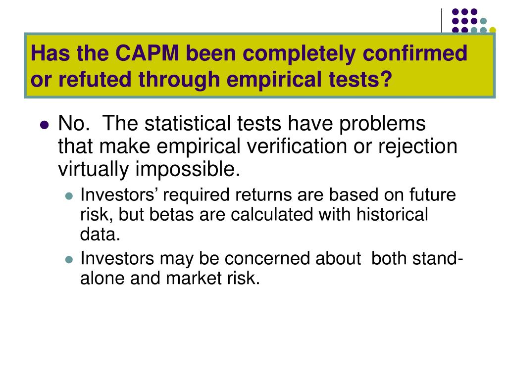 Has the CAPM been completely confirmed or refuted through empirical tests?