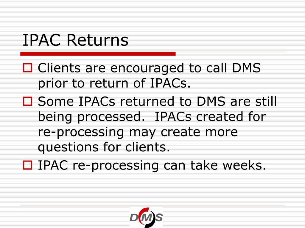 IPAC Returns