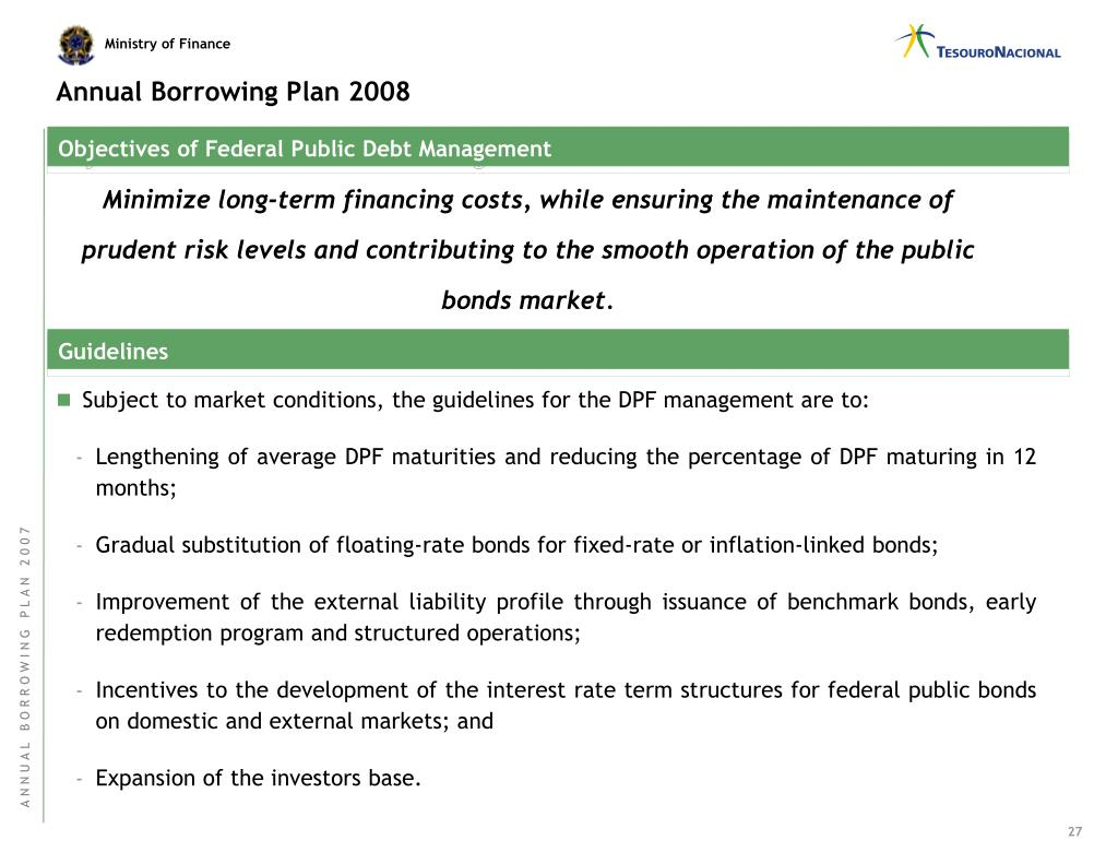 Annual Borrowing Plan 2008