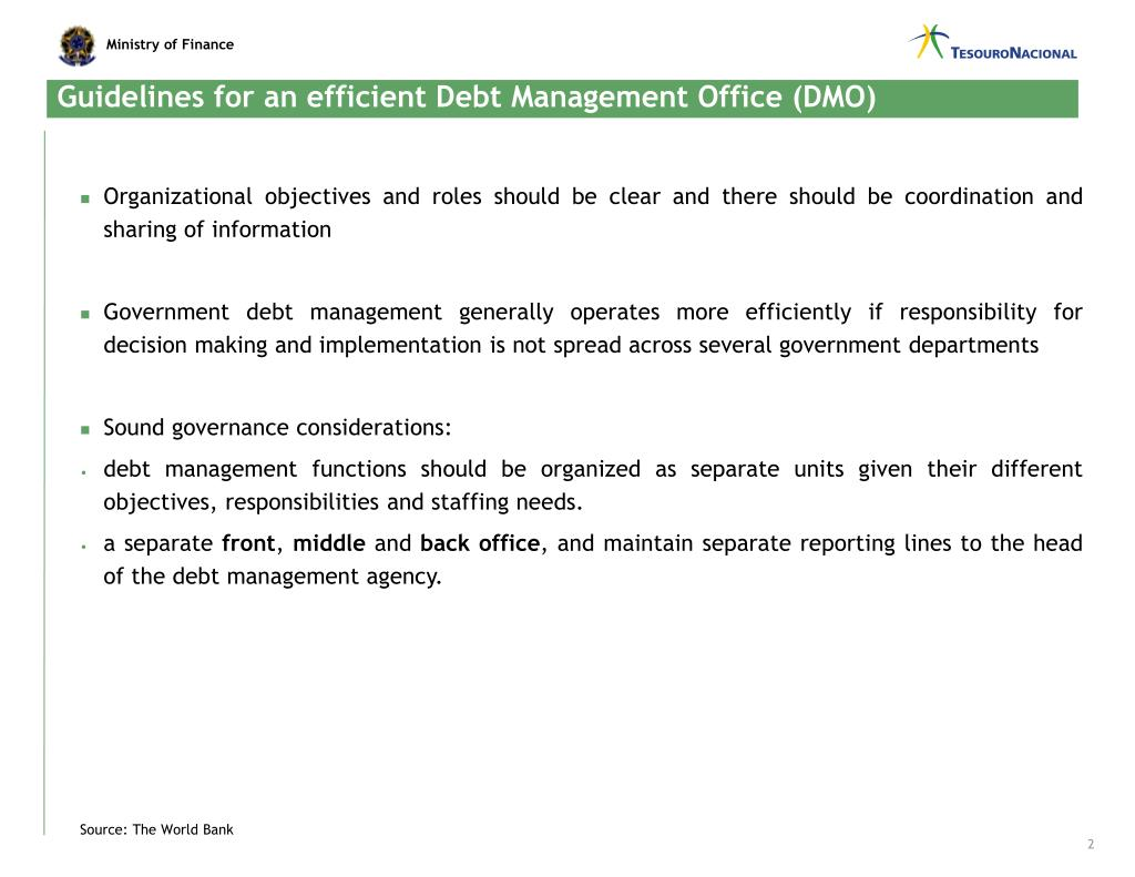 Guidelines for an efficient Debt Management Office (DMO)