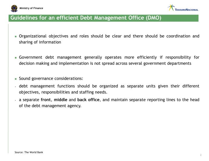 Guidelines for an efficient debt management office dmo