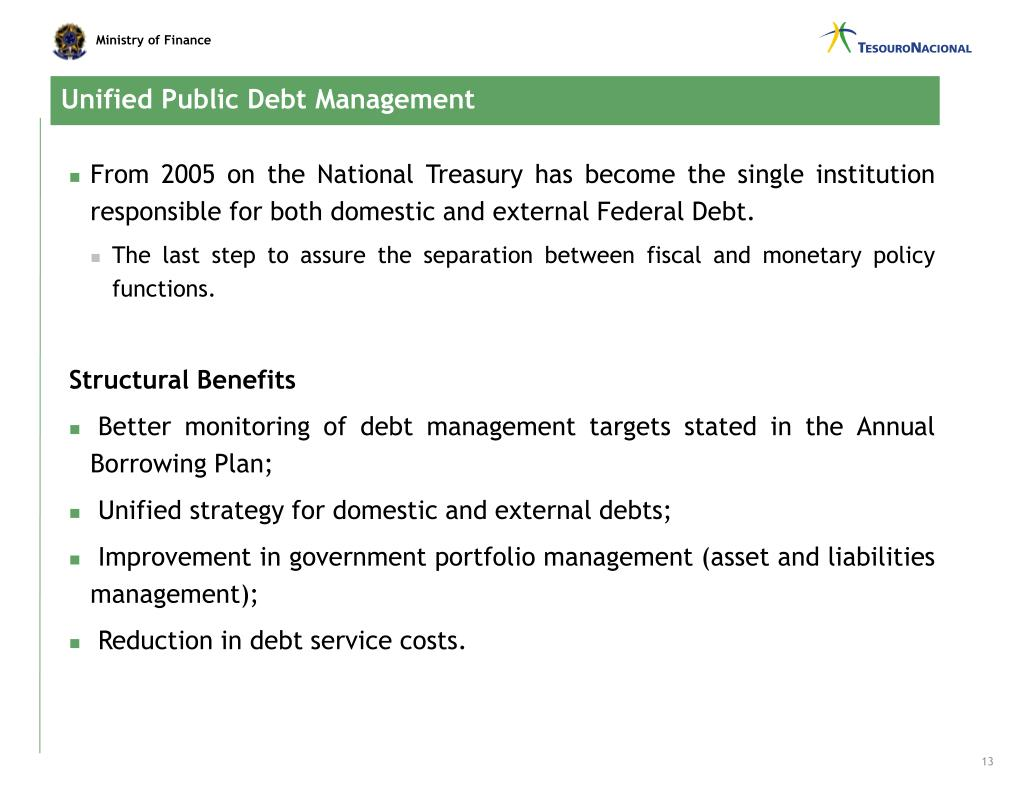 Unified Public Debt Management
