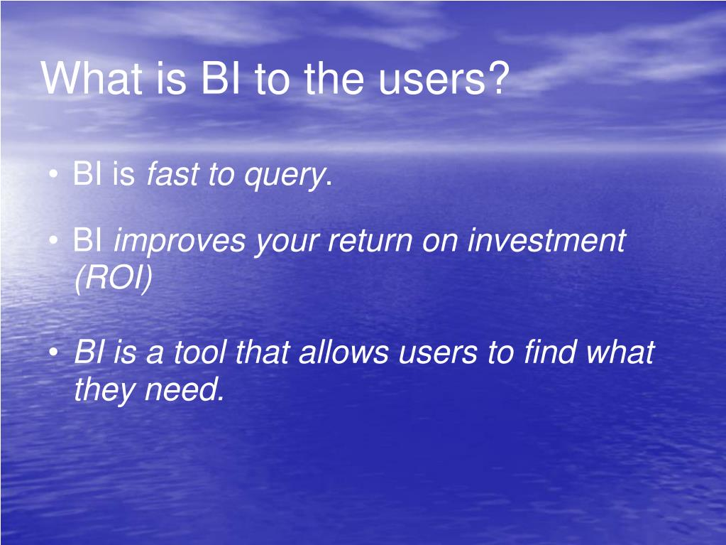What is BI to the users?