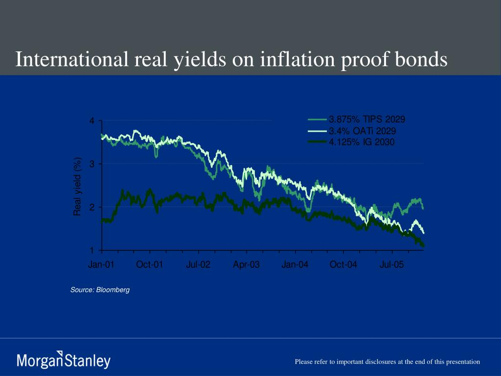 International real yields on inflation proof bonds