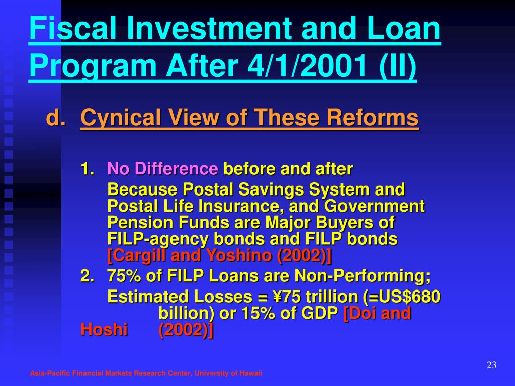 Fiscal Investment and Loan Program After 4/1/2001 (II)