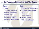 so focus and aims are not the same