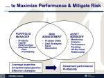 to maximize performance mitigate risk