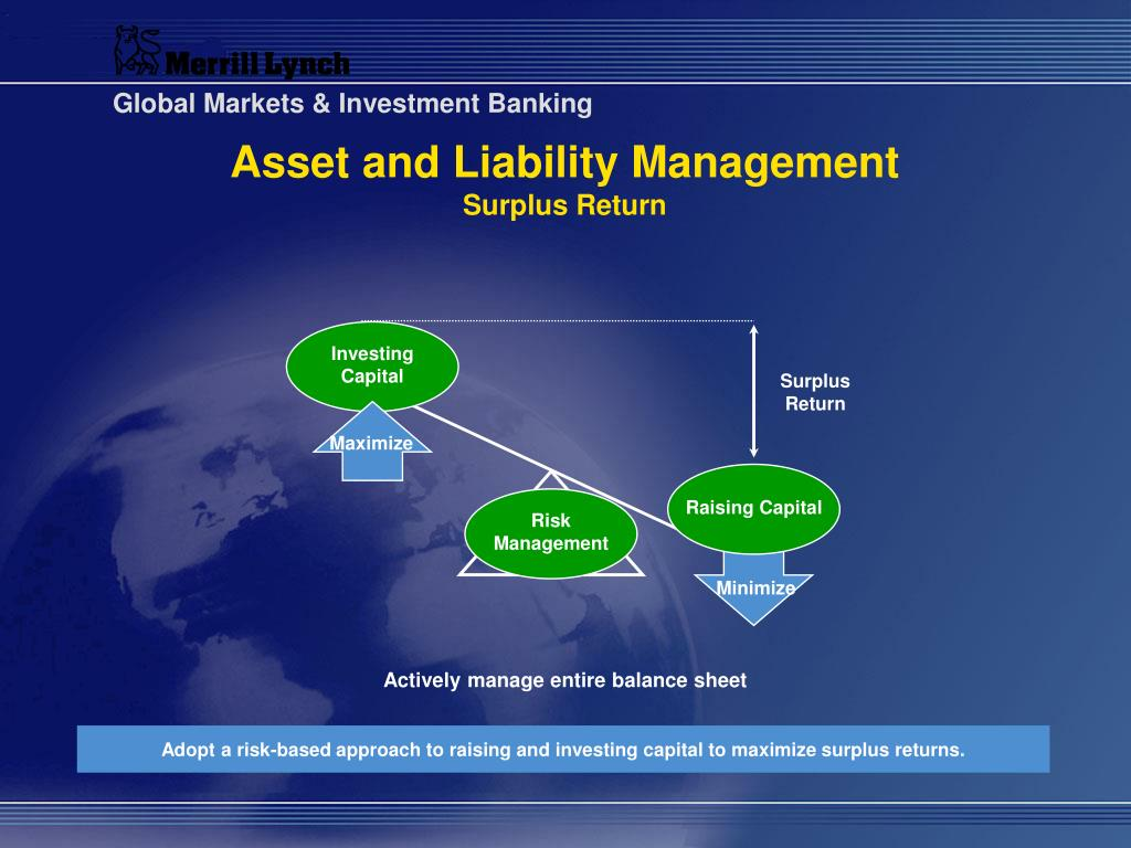 asset and liability management By carefully coordinating its management of assets and liabilities, a financial institution can operate more soundly and profitably this coordination, or largescale simulation of an entire company, is known as asset liability management (alm) in the life insurance industry and as dynamic.