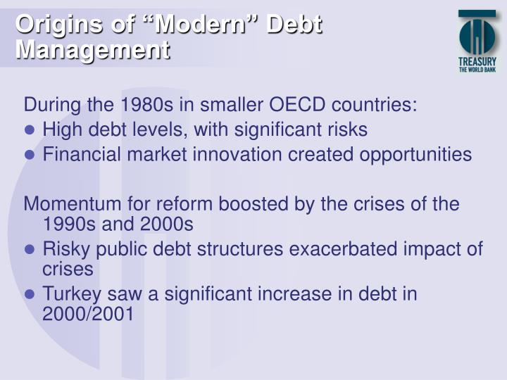 Origins of modern debt management l.jpg