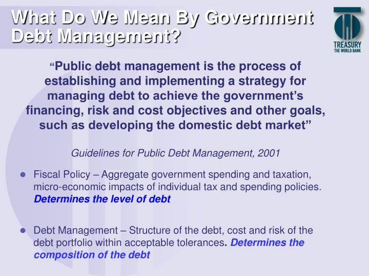What do we mean by government debt management l.jpg