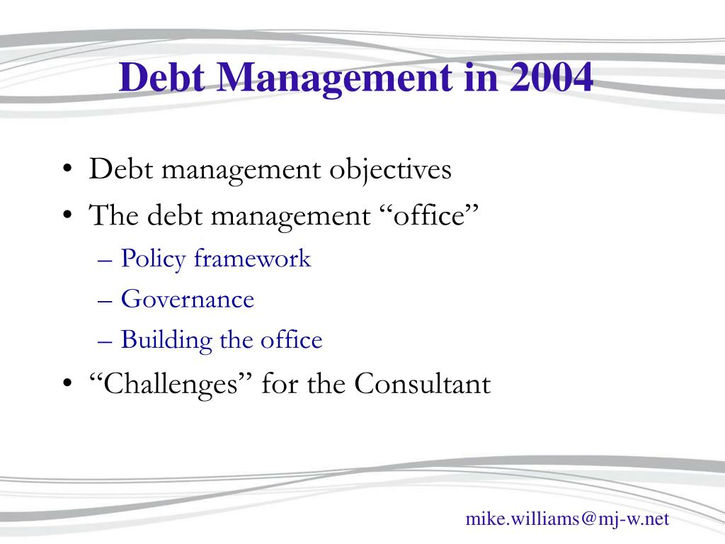 Debt Management in 2004