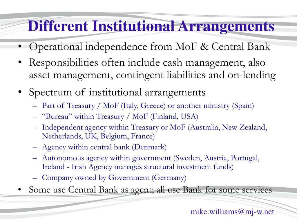 Different Institutional Arrangements