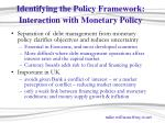 identifying the policy framework interaction with monetary policy