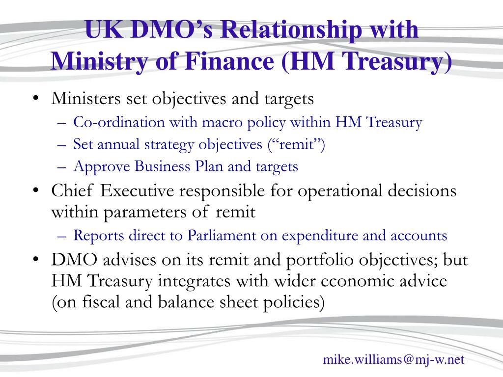 UK DMO's Relationship with Ministry of Finance (HM Treasury)