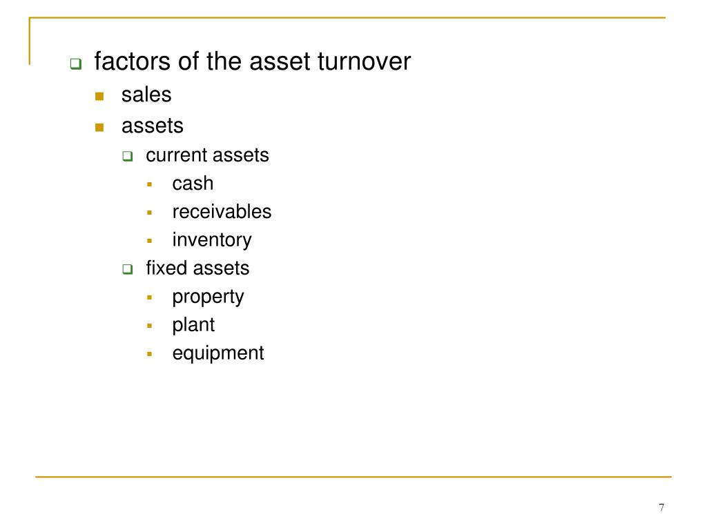 factors of the asset turnover