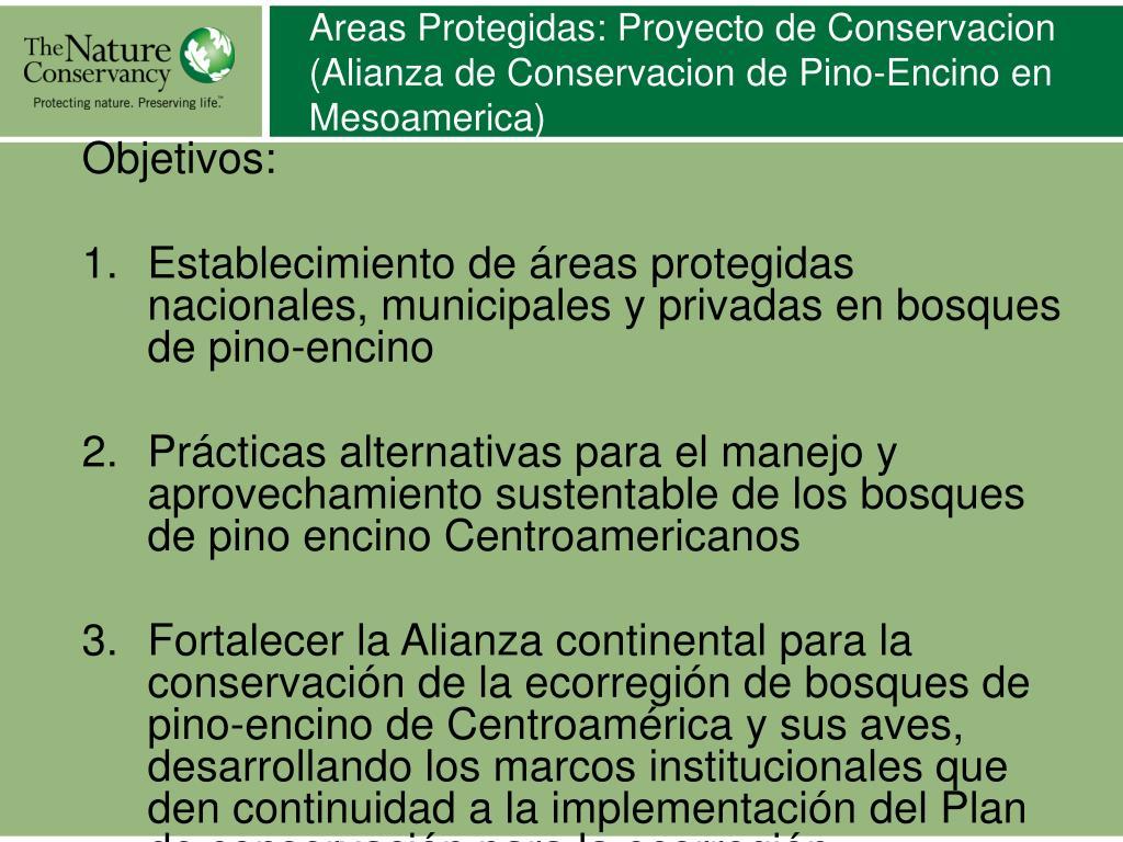 Areas Protegidas: Proyecto de Conservacion (Alianza de Conservacion de Pino-Encino en Mesoamerica)