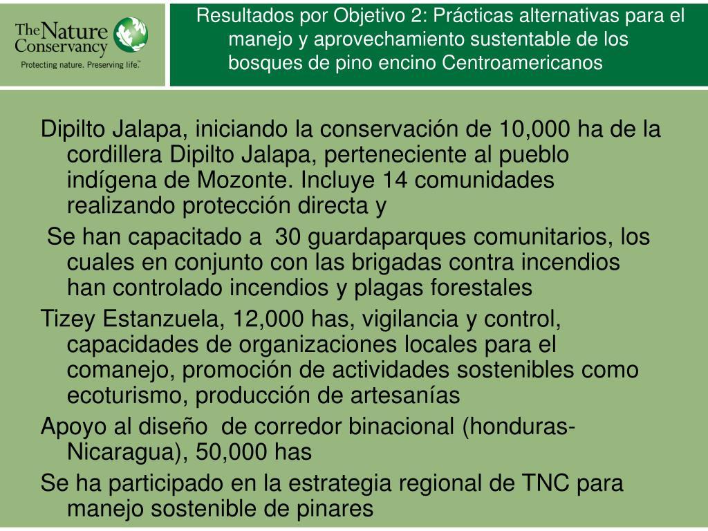 Resultados por Objetivo 2: Prácticas alternativas para el manejo y aprovechamiento sustentable de los bosques de pino encino Centroamericanos