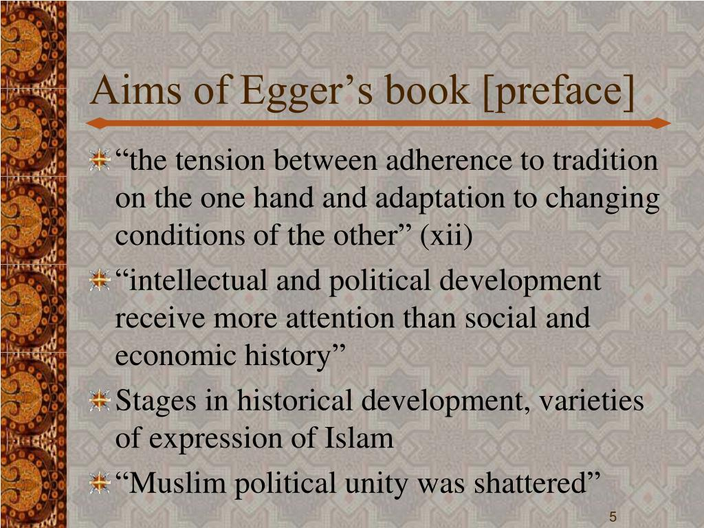 Aims of Egger's book [preface]