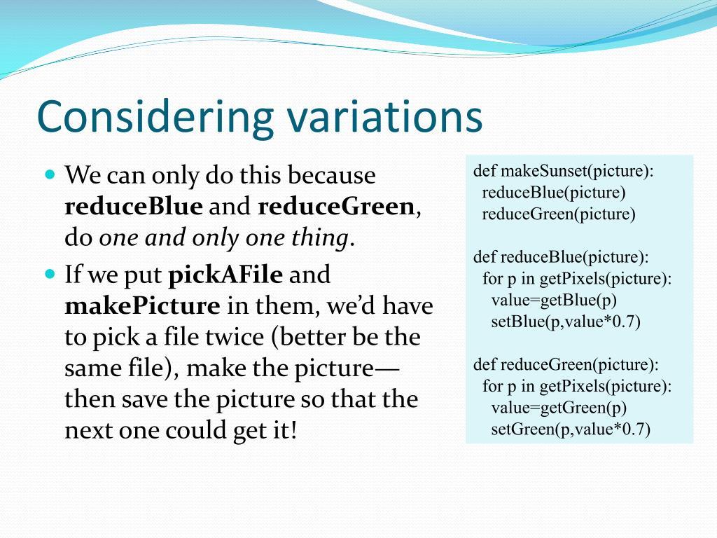 Considering variations