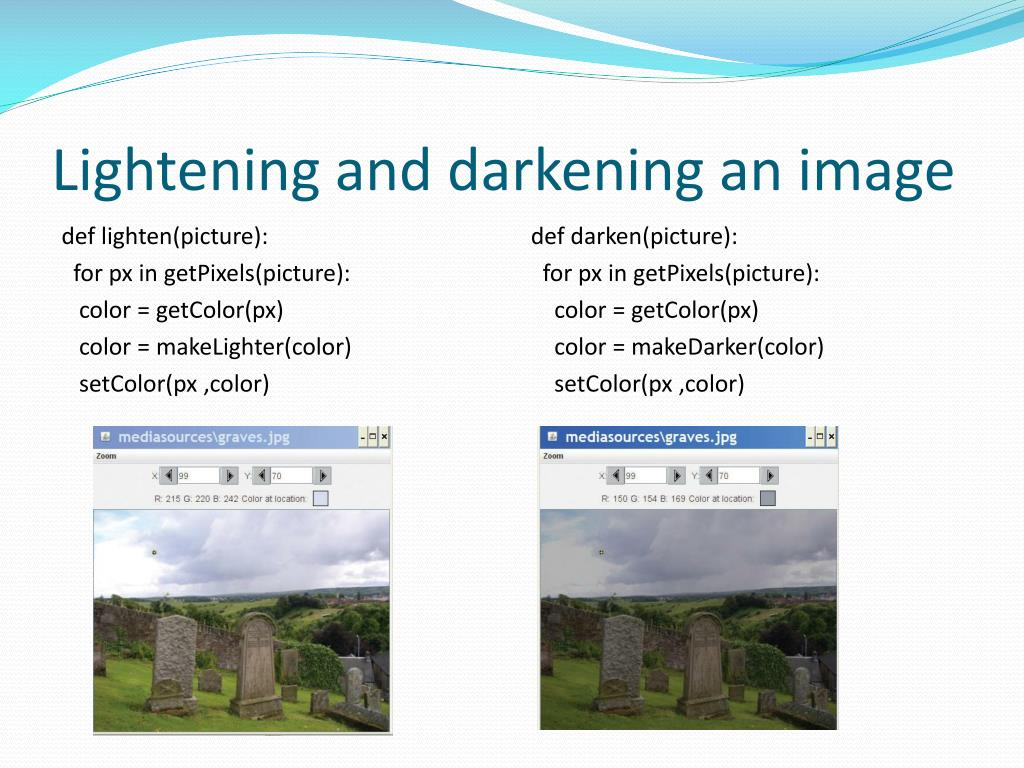 Lightening and darkening an image