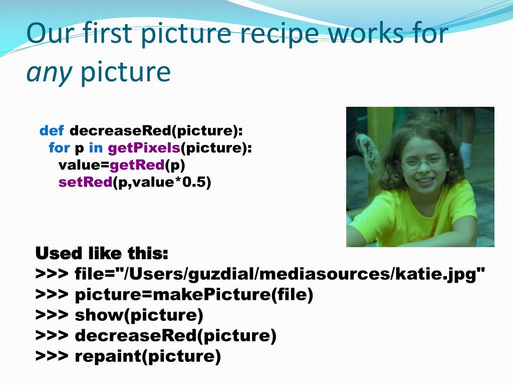 Our first picture recipe works for