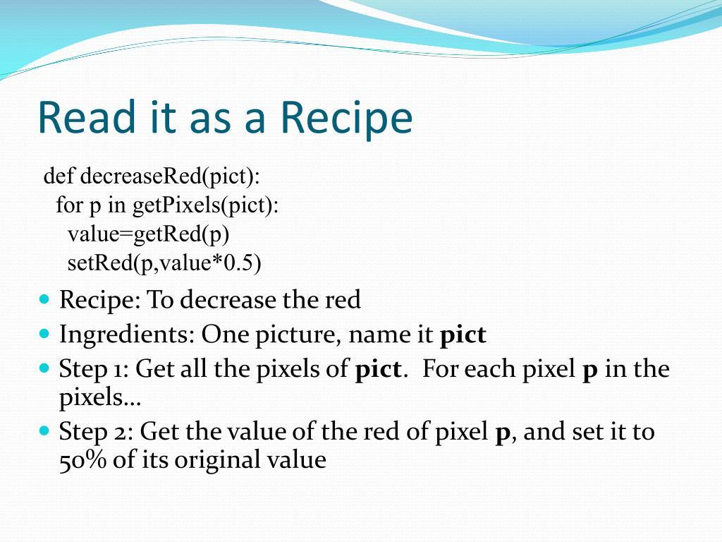 Read it as a Recipe