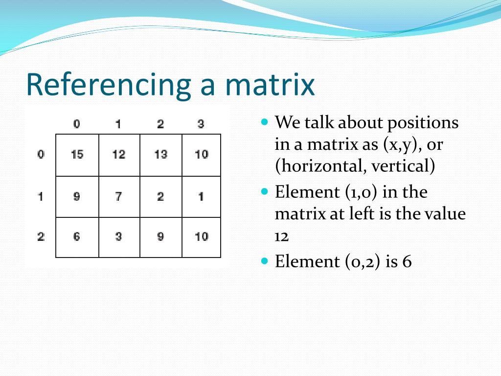 Referencing a matrix