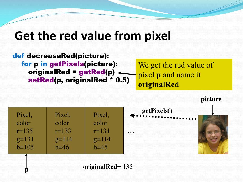 Get the red value from pixel
