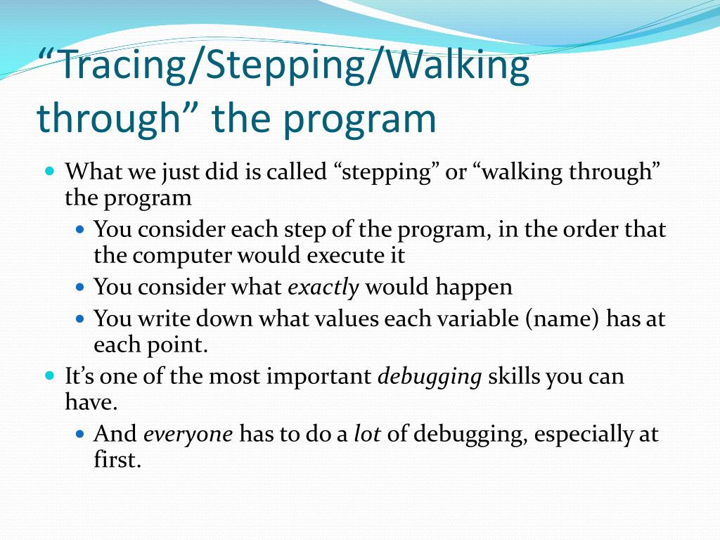"""Tracing/Stepping/Walking through"" the program"