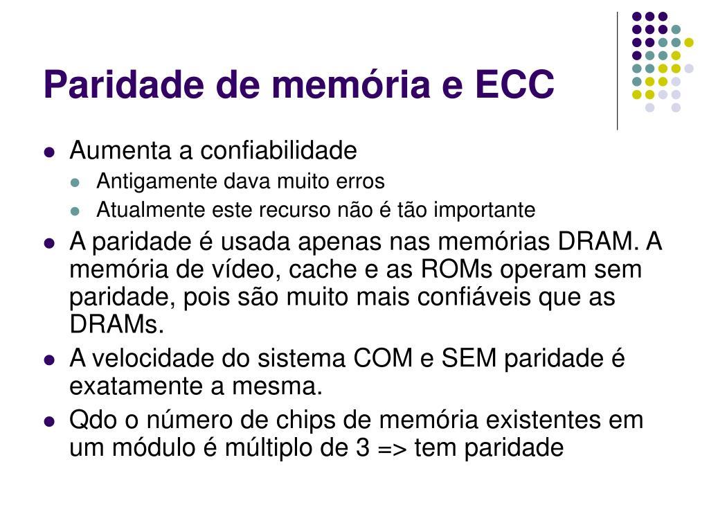 Paridade de memória e ECC