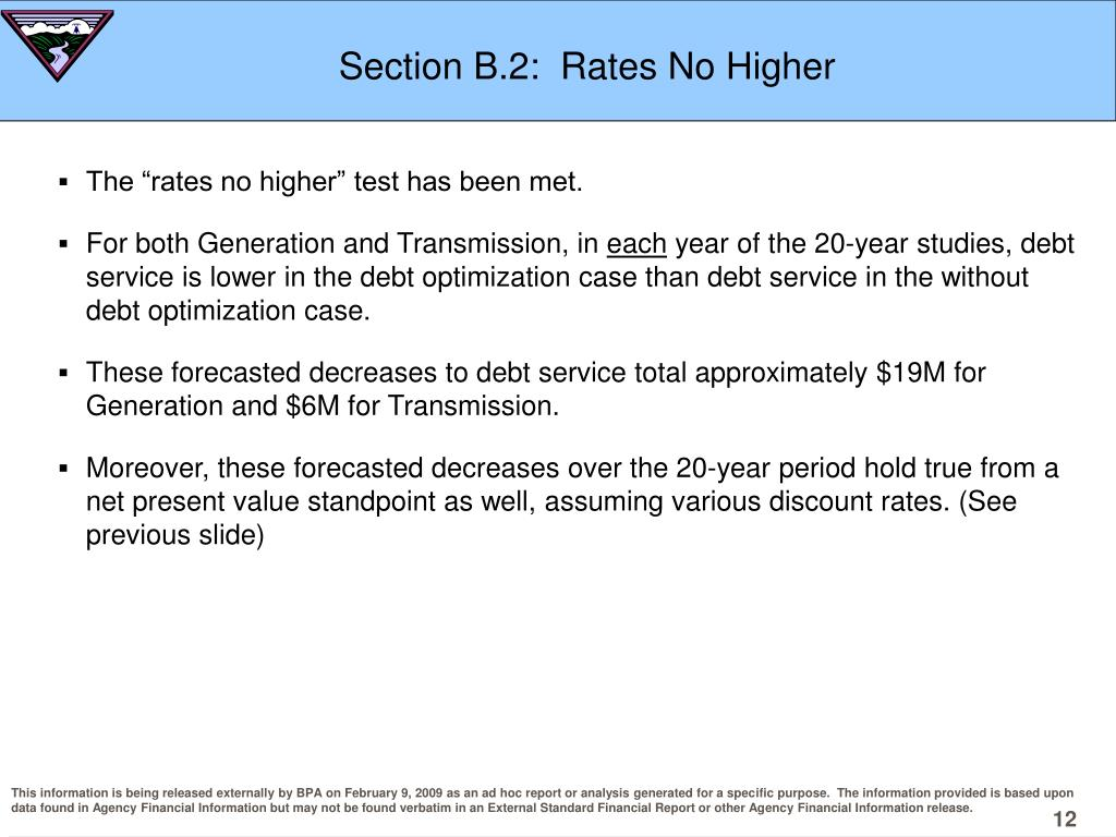 Section B.2:  Rates No Higher