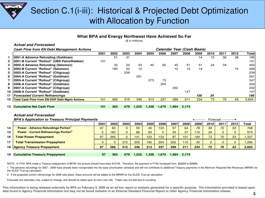 Section C.1(i-iii):  Historical & Projected Debt Optimization with Allocation by Function