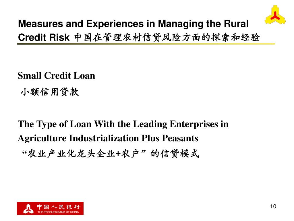 Measures and Experiences in Managing the Rural Credit Risk