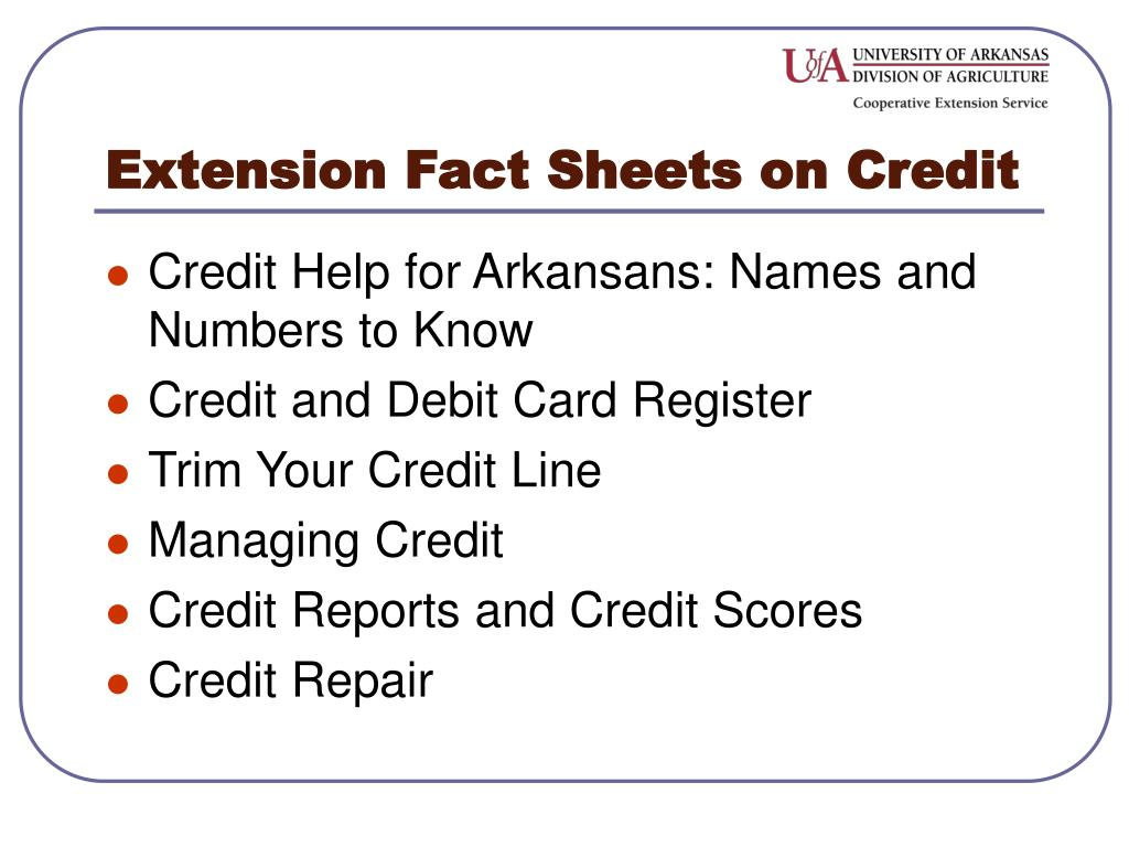 Extension Fact Sheets on Credit