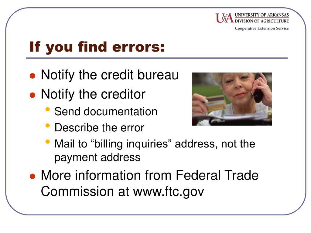 If you find errors: