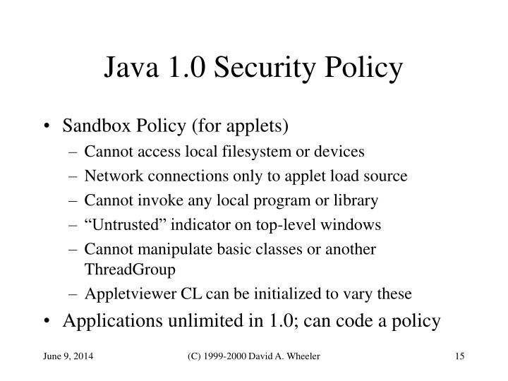Java 1.0 Security Policy