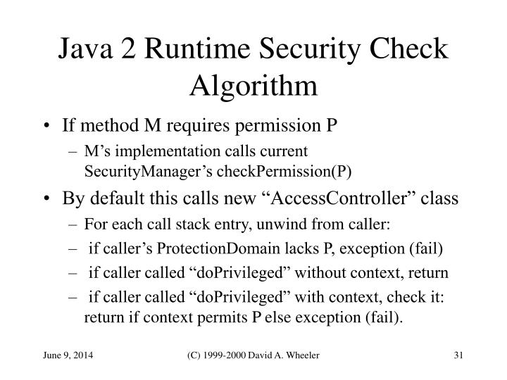 Java 2 Runtime Security Check Algorithm