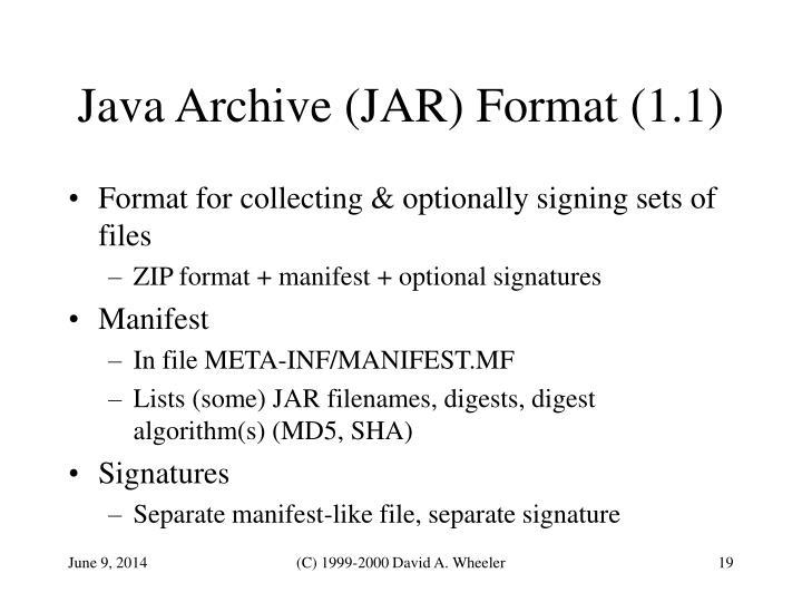 Java Archive (JAR) Format (1.1)