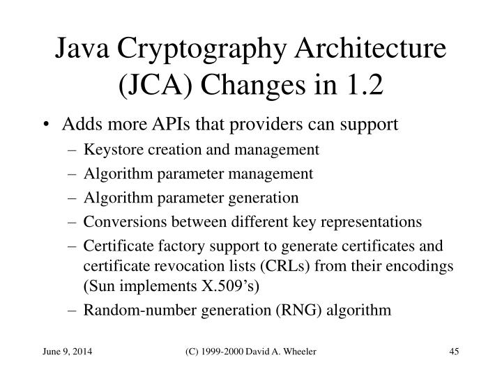 Java Cryptography Architecture (JCA) Changes in 1.2