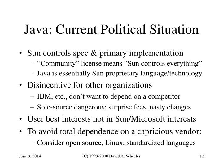 Java: Current Political Situation
