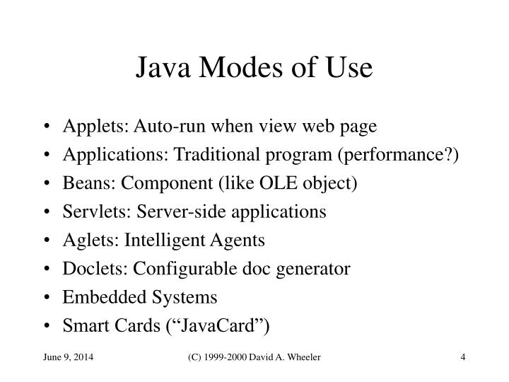 Java Modes of Use