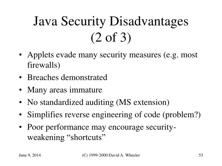 Java Security Disadvantages