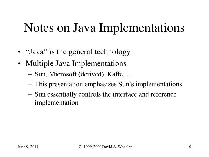 Notes on Java Implementations