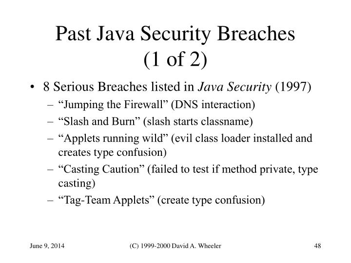 Past Java Security Breaches