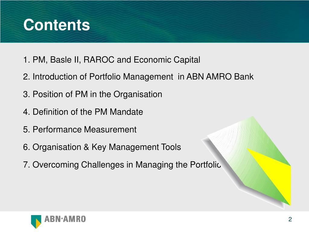 1. PM, Basle II, RAROC and Economic Capital